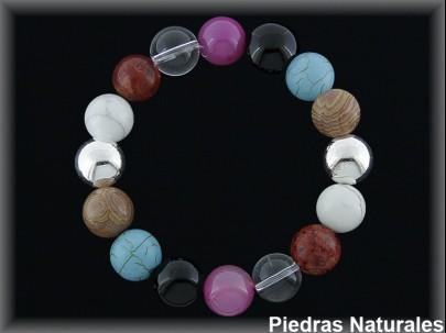 Pulseras elás.bolas  ágatas naturales / plata
