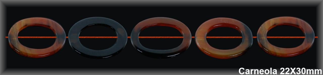 Cedena oval Carneola oscura 22x30 MM.-1 Hilo 13 Pzas.-