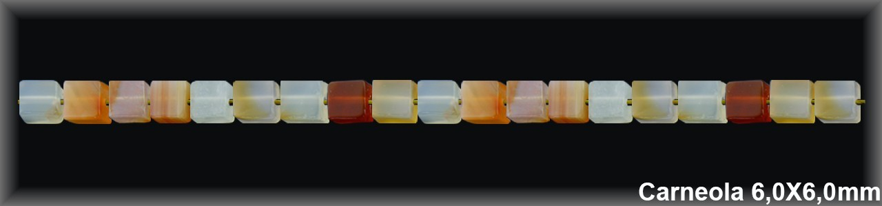 Cubo Carneola 6x6 MM.T.R.-1 Hilo 62 Pzas.-
