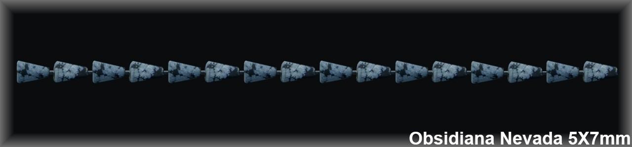 Cono Obsidiana Nev  5x7 MM.-1 hilo 42 Pzas.-