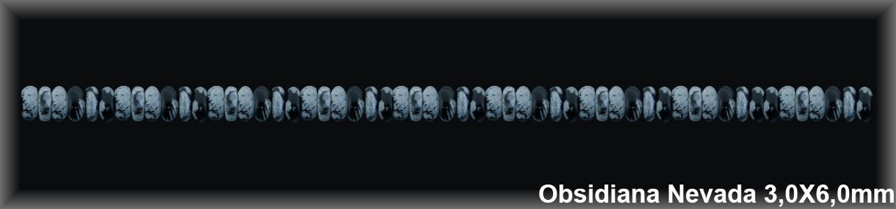 Rondel Obsidiana Nev  3x6 MM.-1 Hilo 118 Pzas.
