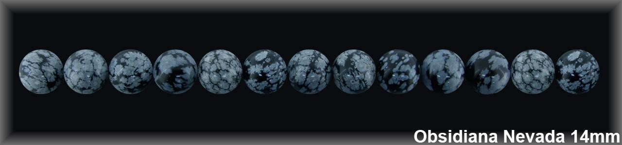 Bola Obsidiana Nev  14-15 MM.- 1 Hilo  28 Pzas.-