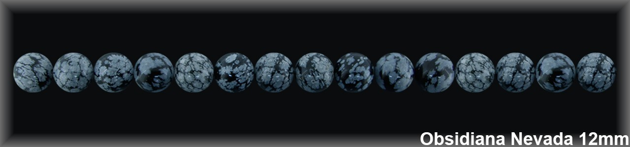 Bola Obsidiana Nev  12 MM.-1 Hilo 33 Pzas.-