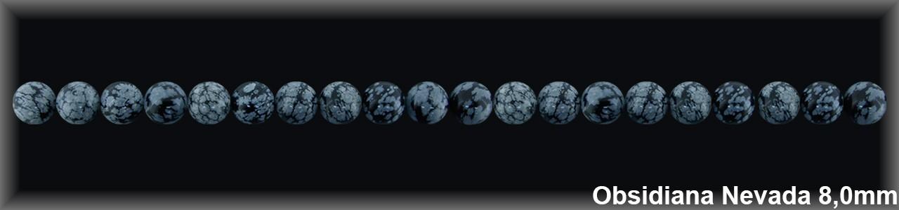Bola Obsidiana Nev  8 MM.-1 Hilo 52 Pzas.-
