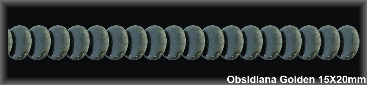 Oval Obsidiana Golden 15x20 MM.-1 Hilo 44 Pzas.-