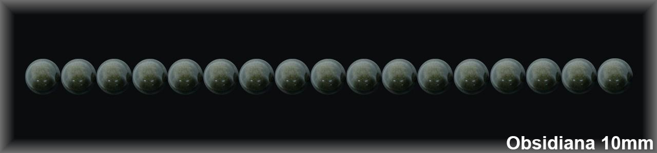 Bola Obsidiana Oscura 9-10 MM.-1 Hilo 42 Pzas.-