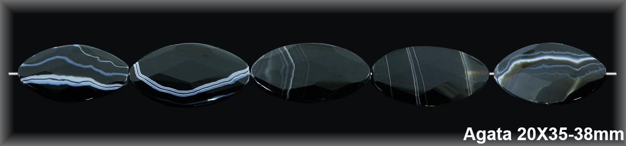 Oval facetado  Ágata Oscura 20x35/37 MM.-1 Hilo 10 Pzas.-