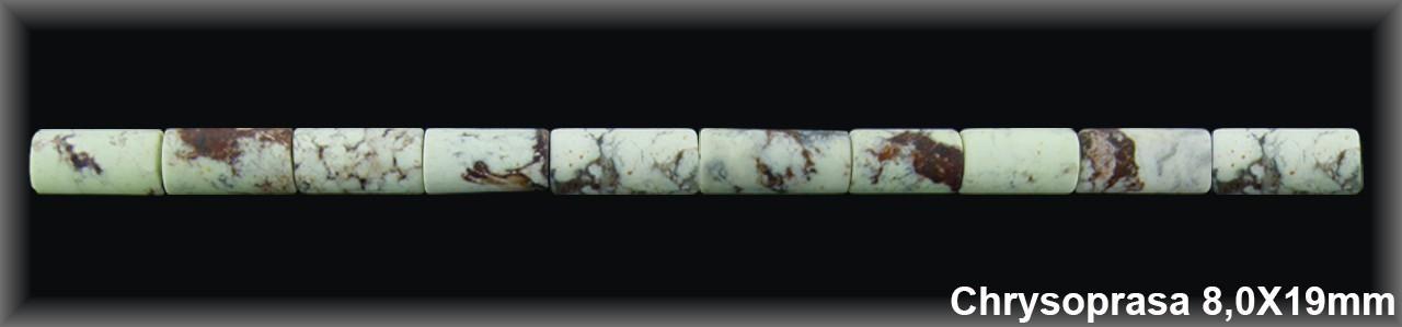 Tubo Chrysoprasa Limón Mate 8x11/19 MM.-1 Hilo 28 Pzas.-
