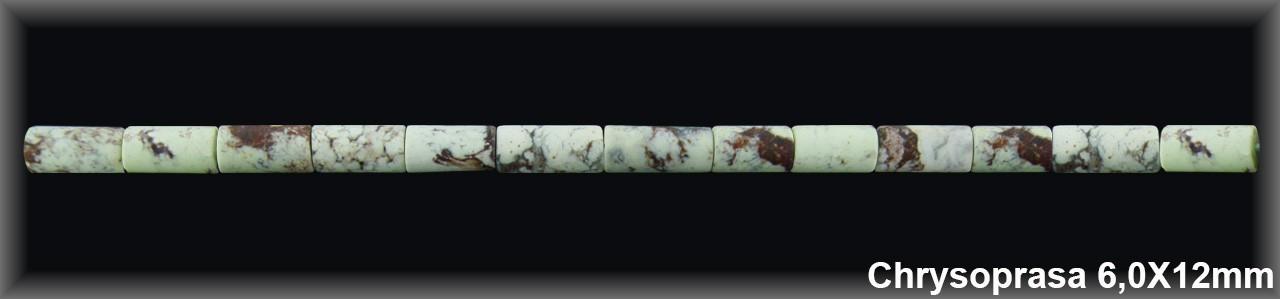 Tubo Chrysoprasa Limón Mate 6x12 MM-1 Hilo 34 Pzas.-