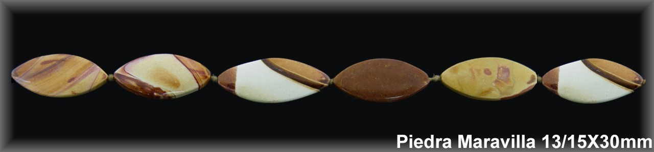"Oval Piedra ""Maravilla"" 13-15x23 MM.-1 Hilo 13 Pzas.-"