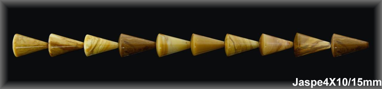 Cono Jaspe Amarillo 4-10x15 MM.-1 Hilo 26 Pzas.-
