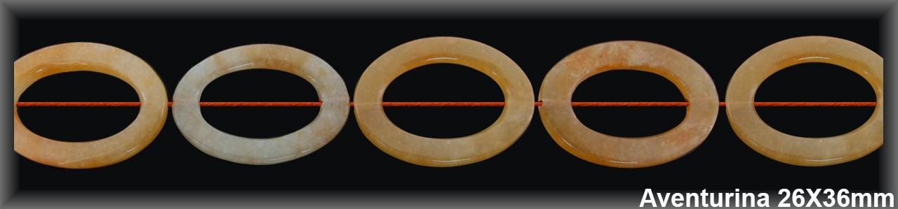 Cadena Oval Aventurina Meloc 26x36 MM.-1 Hilo 12 Pzas.-