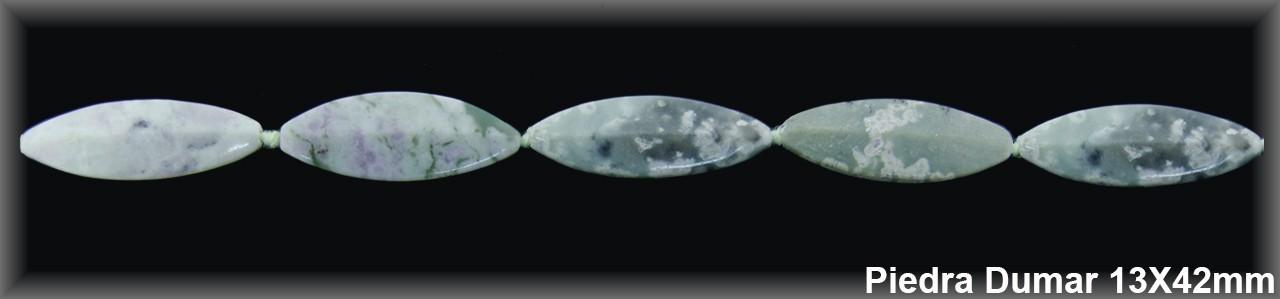 Ovalfacetado  4 caras Piedra Dumar 13x42 MM.-1 Hilo 10 Pzas.-