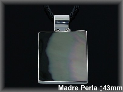 Colgantes plata madre perla rectangulo  29x32 mm cor 7213B