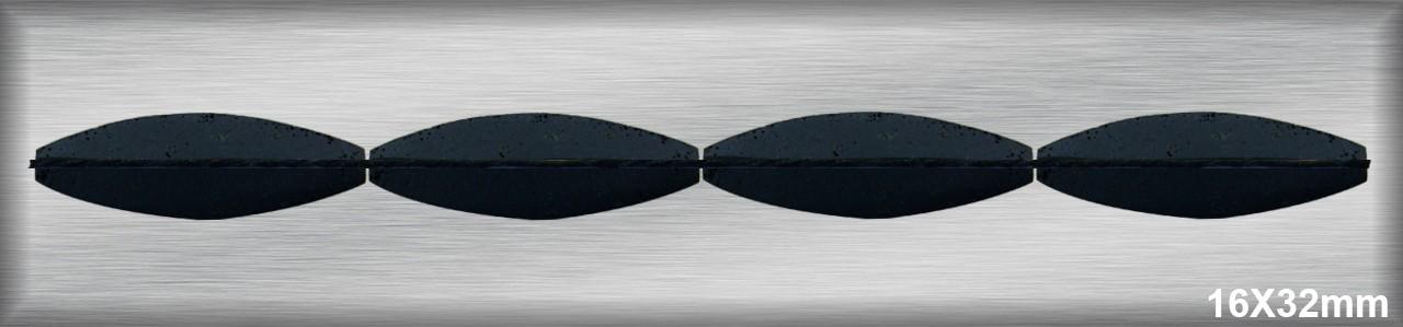 Oval Lavafacetado   4 caras 12-14x30-34 MM.-1 Hilo 11 Pzas.-
