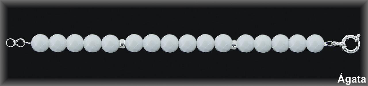 Pulseras plata de ley 925 Mls ,ágata blanca facetada -reasa marinera-.