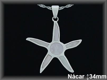 """Colgantes plata nacar """"estrella""""31x35mm. cad.7396b"""