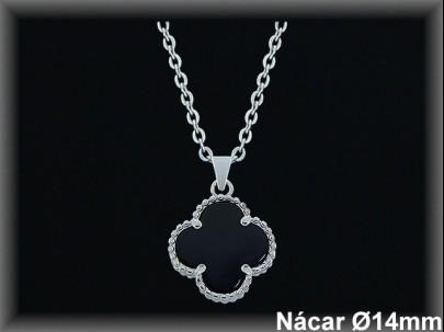 Colgantes plata nácar negro- orla circonita 14mm.cad.952a