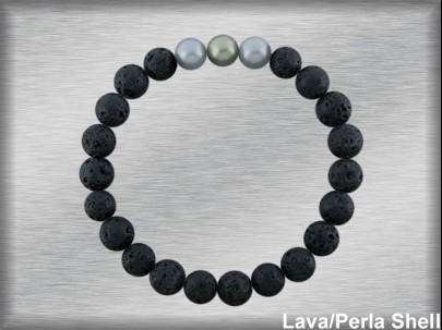 Pulsera elástica lava 8 mm perla shell 10 mm.