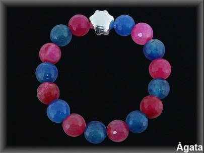 Pulseras elás.bolas  ág.facetado. 12 mm fresa-azul / plata