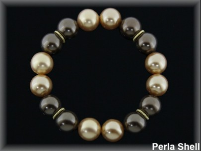 Pulseras elásticas perla shell bronce-oro plat chapado
