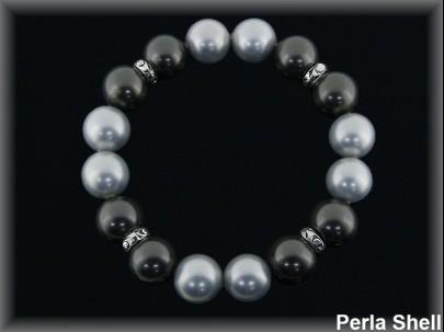 Pulseras elásticas perla shell 2 tonos gris entrep.plata
