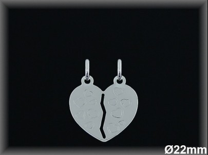 Colgantes plata corazón partido corazoncitos tallada.22mm.