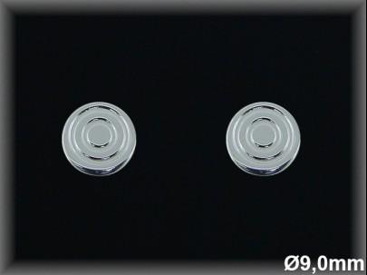 Pendientes plata de ley 925 Mls .9 mm círculos concentricos - presión-.
