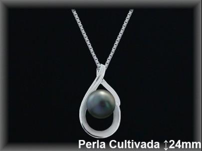 Colgantes plata rodio  perla  cultivada     gris12x24mm.cad.7300br