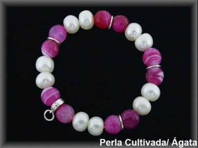 "Pulseras perla cultivada -ágata fucsia ""Moving"""