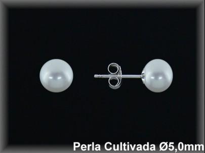 Pendientes plata de ley 925 Mls perla cultivada  blanca 5.0 mm.- presión-.