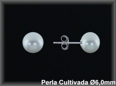 Pendientes plata de ley 925 Mls perla cultivada  blanca 6.0 mm.- presión-.
