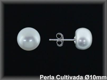 Pendientes plata de ley 925 Mls perla cultivada  blanca 10 mm.- presión-.