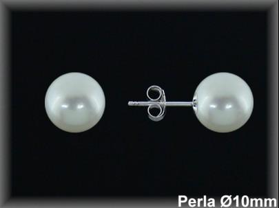 Pendientes plata de ley 925 Mls bola perla 10 mm. -presión-.
