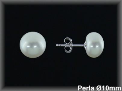 Pendientes plata de ley 925 Mls 1/2 perla 10 mm. -presión-.