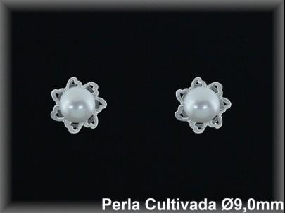 Pendientes plata de ley 925 Mls rodio perla cultivada blanca 9.0 mm. -presión-.