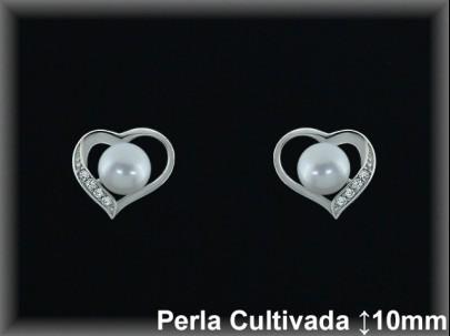 """Pendientes plata de ley 925 Mls rodio  """"corazón""""perla cultivada  blanca/circ.9.5x11mm. -presión-."""