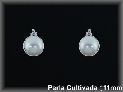 <p>Pendientes plata rodio .8x11mm.perla cultiv.blanca -presión-.</p>