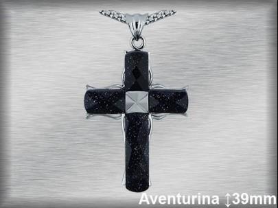 Cruz plata rodio aventurina cad77br.
