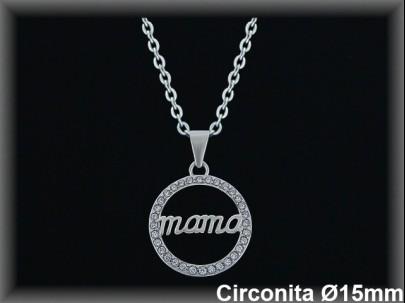"Colgantes plata rodio  bocel..circonita  redondo  ""mamá""15mm.Øcad. 7330BR"