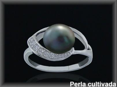 <p>Sortijas plata de ley 925 Mls rodio perla cultivada gris circonita itas.</p>