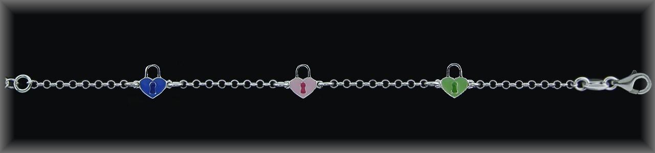 <p>Pulseras plata 3 corazones cerradura esmalte/verde-azul-rosa</p>