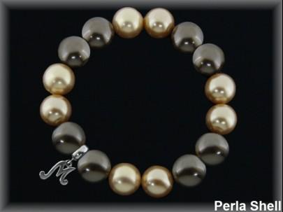 "<p>Pulseras elásticas perla shell bronce-oro""Madre"".</p>"