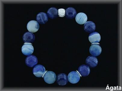 Pulseras agata azul anilla plata elasticas