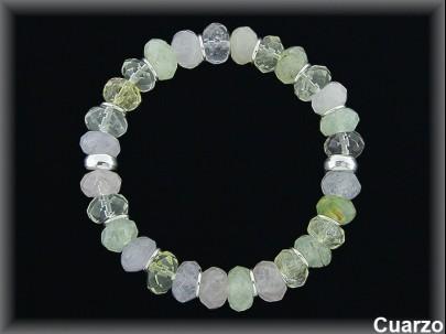 Pulseras cuarzo color anilla plata elasticas