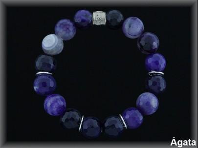 Pulseras àgata violeta anilla plata de ley 925 Mls elásticas.