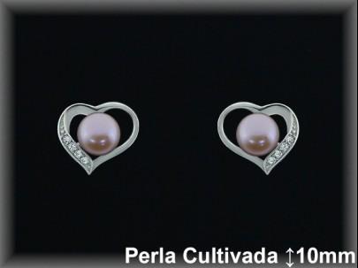 """Pendientes plata de ley 925 Mls rodio  """"corazón""""perla cultivada  color/circ.9.5x11mm. -presion -"""