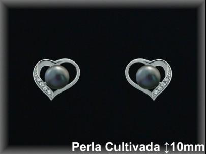 """Pendientes plata de ley 925 Mls rodio  """"corazón""""perla cultivada  gris/circ.9.5x11mm. -presion -"""