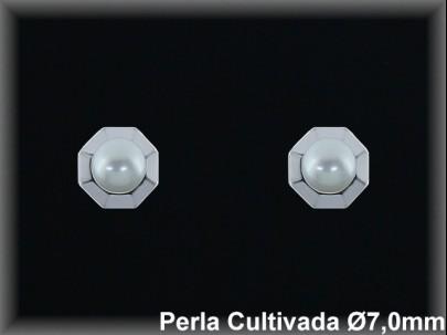 Pendientes plata de ley 925 Mls rodio perla cultivada blanca 7mm. -presion -