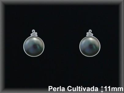 Pendientes plata de ley 925 Mls rodio 8x11mm.perla cultivada gris -presión-.
